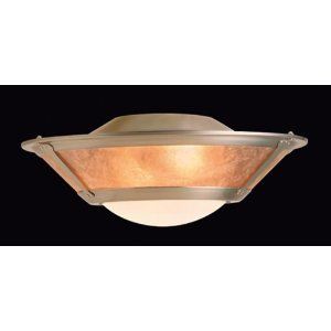 Casablanca Three-light mica fixture with glass