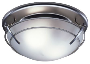 Broan 757SN Bathroom Ceiling Fan/Light with Frosted-Glass Shade, Satin Nickel Finish