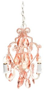 Tadpoles Three Bulb Chandelier in Pink Sapphire